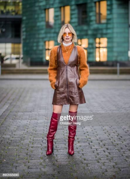 Lisa Hahnbueck wearing brown Chloe dress with zipper brown Mulberry knit red Zara overknee boots Vouge eyewear sunglasses on December 11 2017 in...