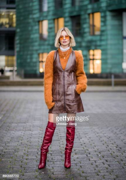 Lisa Hahnbueck wearing brown Chloe dress with zipper brown Mulberry knit red Zara overknee boots Vouge eyewear sunglasses on December 11 2017 in...