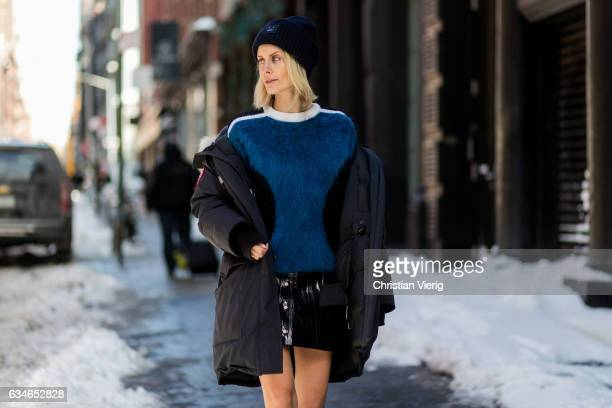 Lisa Hahnbueck wearing Canada Goose Resolute Parka Louis Vuitton RTW Mohair Knit Naplack And Leather Miniskirt Louis Vuitton STAR on February 10 2017...