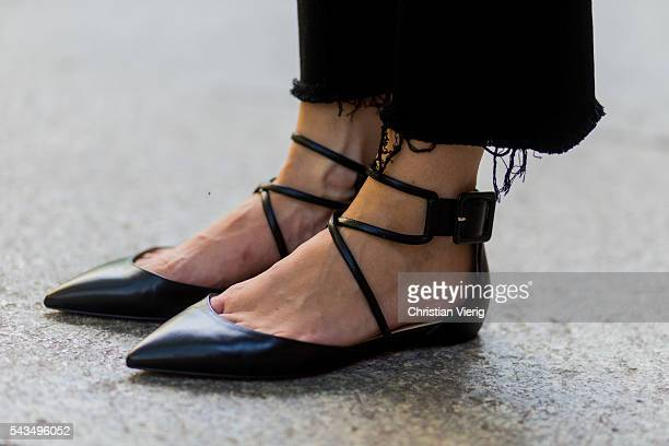 Lisa Hahnbueck wearing Christian Louboutin laced flats during the MercedesBenz Fashion Week Berlin Spring/Summer 2017 on June 28 2016 in Berlin...