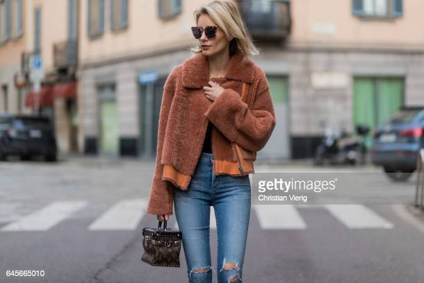 Lisa Hahnbueck wearing Designers Remix Candy Coat Boxy Shearling Coat with large collar and zipper Citizens of Humanity jeans OF HUMANITY JEANS Louis...
