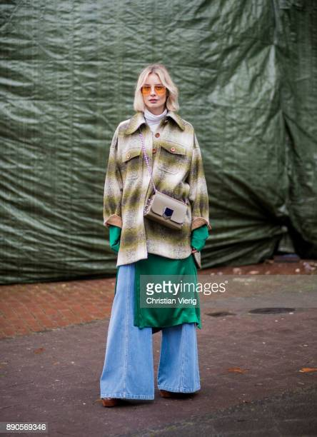 Lisa Hahnbueck wearing green Haider Ackermann dress flared denim jeans Chloe green checked Chloe coat brown Aquazurra x Poppy Delevigne heels Vogue...