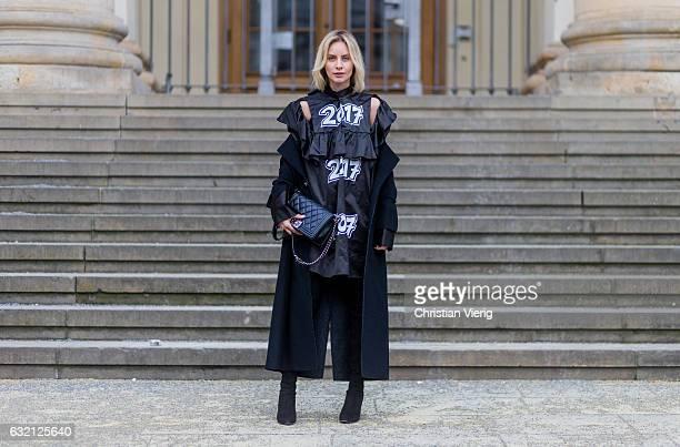 Lisa Hahnbueck wearing Julia Seeman Kleid, Marc Cain Maxicoat, Stuart Weitzman Alllegs Over Knee Boots, Chanel Boy Bag Medium size during the...