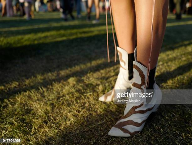Lisa Hahnbueck wearing Louis Vuitton Boots bag during day 2 of the 2018 Coachella Valley Music & Arts Festival Weekend 1 on April 14, 2018 in Indio,...