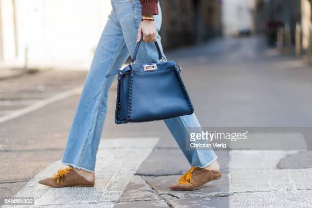 Lisa Hahnbueck wearing Max Mara Leather JacketCitizens of Humanity jeans Christian Louboutin Medinana marron loafer Fendi Peekaboo bag Prada...