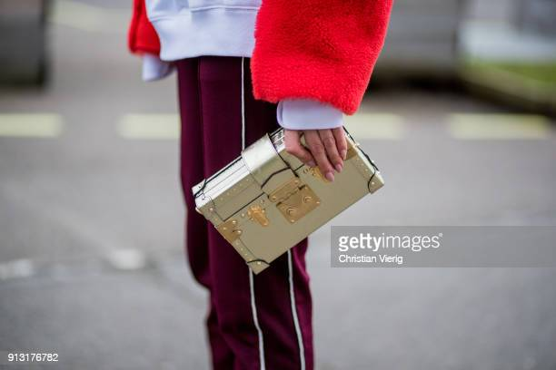 Lisa Hahnbueck wearing red jacket track suit pants Louis Vuitton bag outside Designers Remix during the Copenhagen Fashion Week Autumn/Winter 18 on...