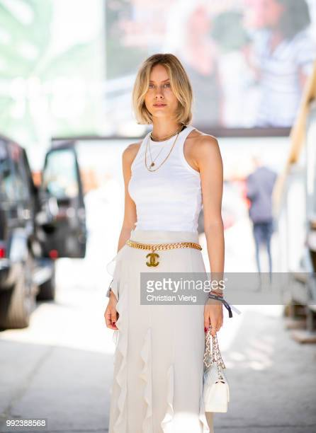 Lisa Hahnbueck wearing ruffled maxi skirt white top white Chanel bag seen outside Lana Mueller during the Berlin Fashion Week July 2018 on July 5...