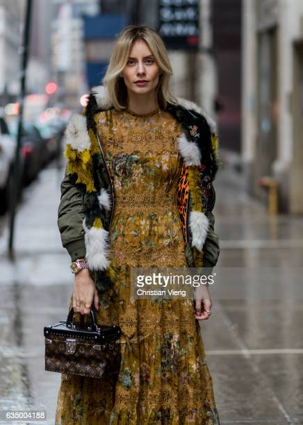 Lisa Hahnbueck wearing SANDRO BOMBER JACKET ZIMMERMANN Silk Maxi Dress with Lace Details via Stylebop Poppy Delevingne Hero Plateau suede and leather...