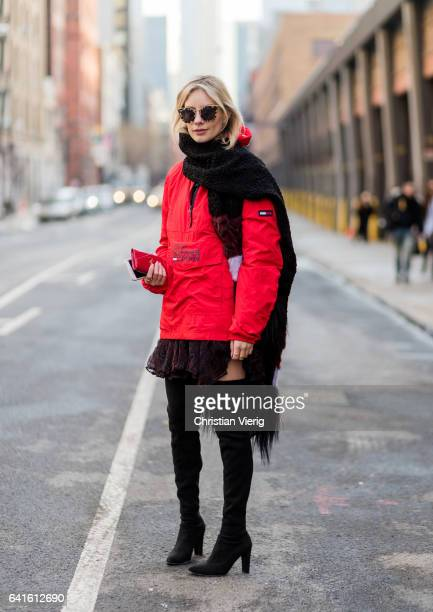 Lisa Hahnbueck wearing Tommy Hilfiger Jacket Iro Dress Stuart Weitzman Overknee Alllegs Saint Laurent MONOGRAM SAINT LAURENT UMSCHLAGPORTEMONNAIE AUS...