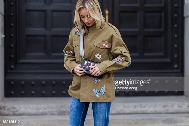 Lisa Hahnbueck wearing Valentino Butterfly Printed Cotton Jacket Closed Jeans Zara Colored Over Knee Boots Fendi Clutch Bag with colored studs MCM...