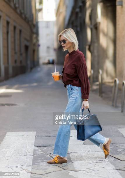 Lisa Hahnbueck with an orange juice wearing Max Mara Leather JacketCitizens of Humanity jeans Christian Louboutin Medinana marron loafer Fendi...