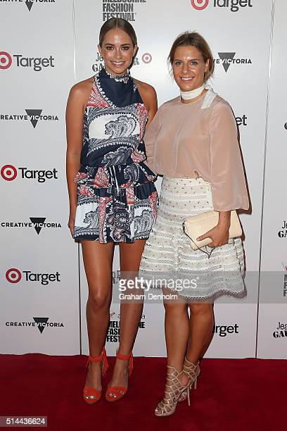 Lisa Hamilton and Tully Smyth arrive ahead of the Jean Paul Gaultier x Target Launch during Melbourne Fashion Festival on March 9 2016 in Melbourne...