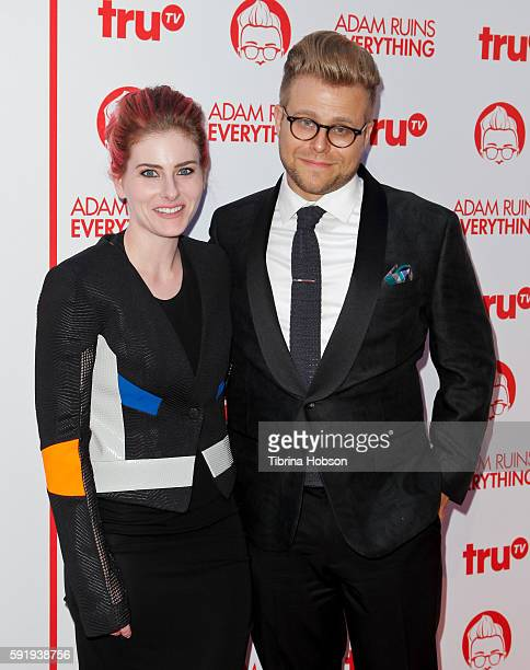 Lisa Hanawalt and Adam Conover attend the screening and reception for truTV's 'Adam Ruins Everything' at The Library at The Redbury on August 18 2016...