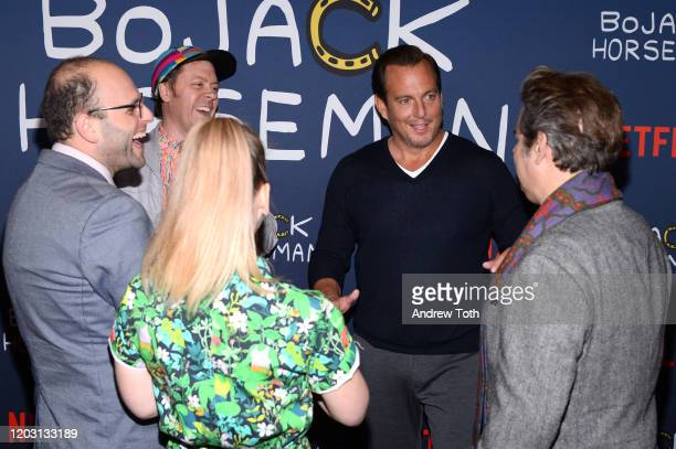 Lisa Hanawalt Raphael BobWaksberg Mike Hollingsworth Paul F Tompkins and Will Arnett attend the premiere of Netflix's Bojack Horseman Season 6 at the...