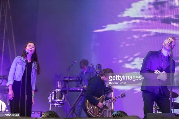 Lisa Hannigan Aaron Dessner and Matt Berninger of The National performs at Energia Park on June 15 2018 in Dublin Ireland
