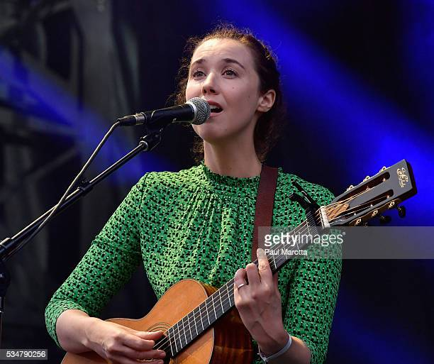 Lisa Hannigan and Aaron Dessner perform on Day 1 of the Boston Calling Festival on Government Center Plaza on May 27, 2016 in Boston, Massachusetts.