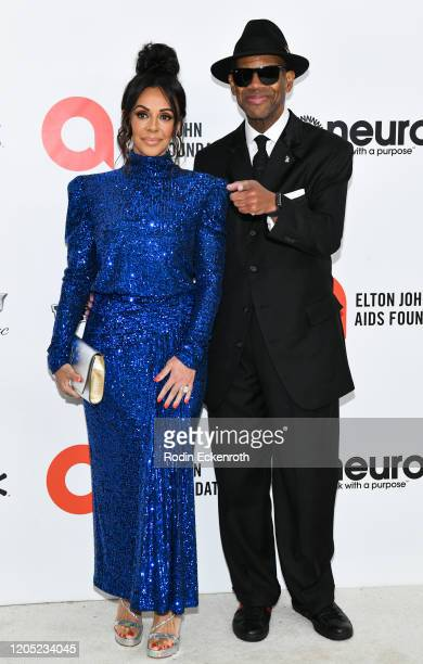Lisa Harris and Jimmy Jam attends the 28th Annual Elton John AIDS Foundation Academy Awards Viewing Party Sponsored By IMDb And Neuro Drinks on...