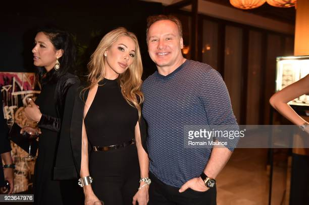Lisa Hochstein and her husband Dr Leonard Hochstein at HUBLOT Dinner Honoring Chef Nobu Matsuhisa at Nobu on February 23 2018 in Miami Beach Florida