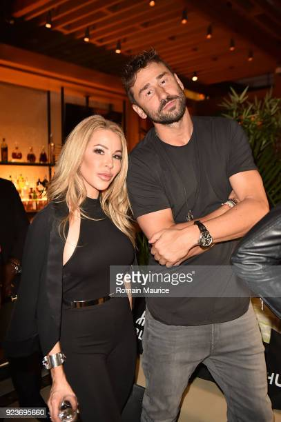 Lisa Hochstein and Marko Jaric attend HUBLOT Dinner Honoring Chef Nobu Matsuhisa at Nobu on February 23 2018 in Miami Beach Florida