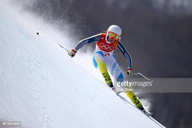 Lisa Hoernblad of Sweden competes during the Ladies' Downhill on day 12 of the PyeongChang 2018 Winter Olympic Games at Jeongseon Alpine Centre on...