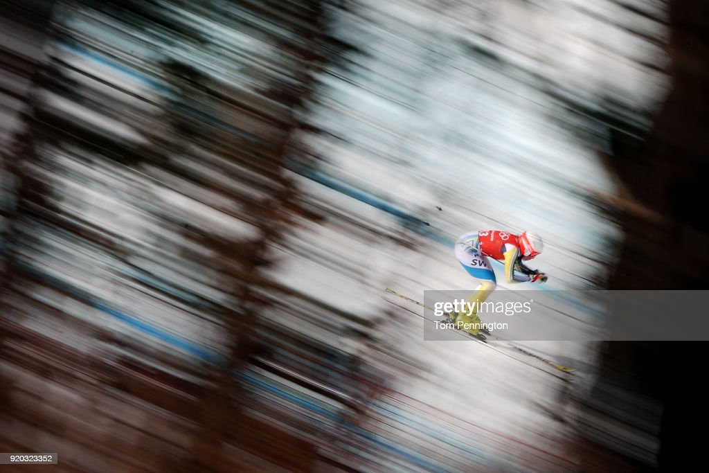 Lisa Hoernblad of Sweden makes a run during Alpine Skiing Ladies' Downhill Training on day 10 of the PyeongChang 2018 Winter Olympic Games at Jeongseon Alpine Centre on February 19, 2018 in Pyeongchang-gun, South Korea.