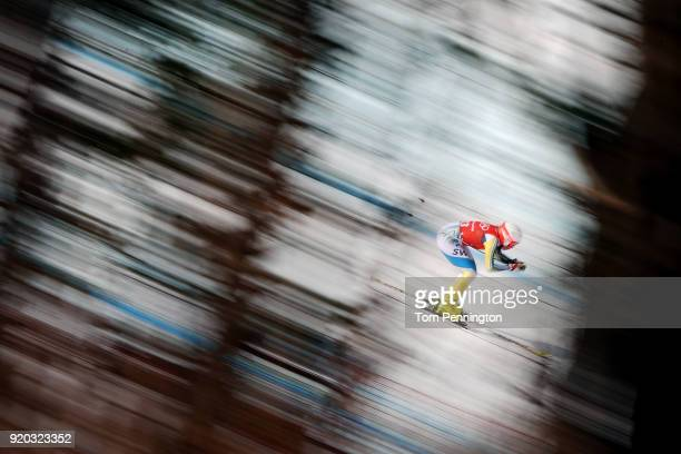 Lisa Hoernblad of Sweden makes a run during Alpine Skiing Ladies' Downhill Training on day 10 of the PyeongChang 2018 Winter Olympic Games at...