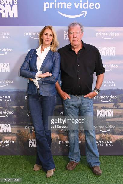 """Lisa Hogan and Jeremy Clarkson during the """"Clarkson's Farm"""" photocall at St. Pancras Renaissance London Hotel on June 09, 2021 in London, England."""