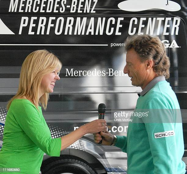 Lisa Holladay and Bernhard Langer appear at MercedesBenz of Augusta on April 5 2011 in Augusta Georgia