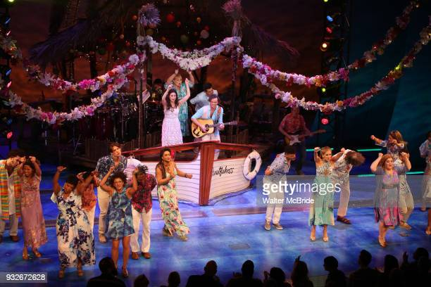 Lisa Howard Eric Peterson Alison Luff and Paul Alexander Nolan with cast during the the Broadway Opening Night Performance Curtain Call bows of...