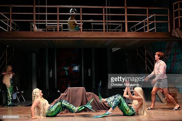 LIsa Hrdina Natalia Belitski and Daniel Hoevels perform on stage during rehearsals for 'Tabula Rasa Gruppentanz und Klassenkampf' at Deutsches...