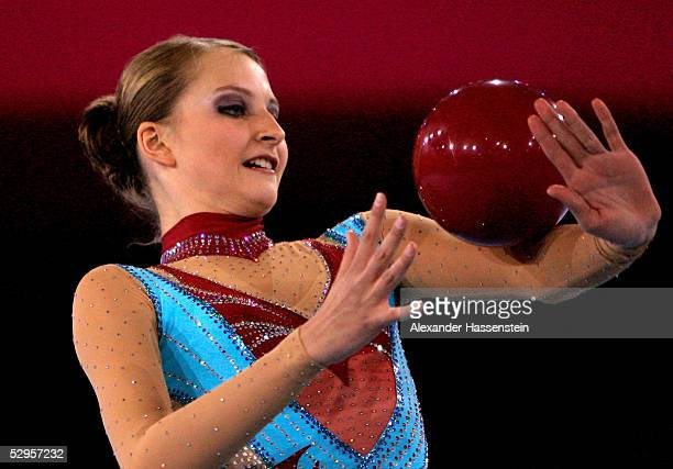 Lisa Ingildeeva of Germany performes rythmic gymnastic during the international German gymnastics festival show of the masters on May 20 2005 in...