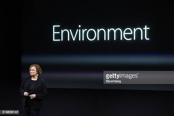 Lisa Jackson vice president of environment for Apple Inc during an Apple event in Cupertino California US on Monday March 21 2016 Apple Inc Chief...