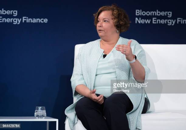 Lisa Jackson vice president of environment for Apple Inc speaks during the BNEF Future of Energy Global Summit in New York US on Tuesday April 10...