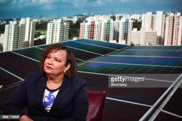 Lisa Jackson vice president of environment policy and social initiatives for Apple Inc listens during a Bloomberg Television interview in New York US...