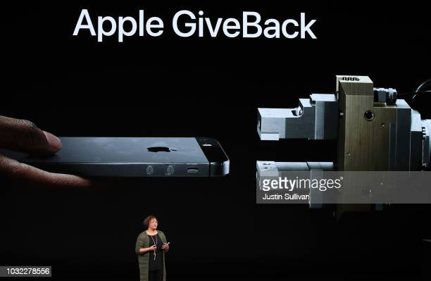 Lisa Jackson Vice President of Environment Policy and Social Initiatives speaks at an Apple event at the Steve Jobs Theater at Apple Park on...