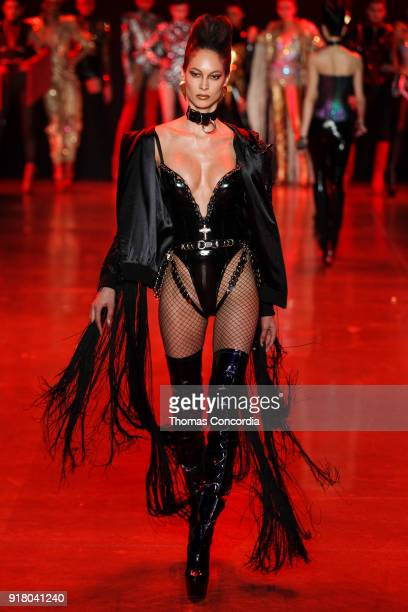 Lisa Jackson walks the runway wearing The Blonds Fall 2018 Collection with makeup by Kabuki Magic and the MAC Pro team hair by Kien Hoang and Oribe...