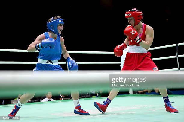 Lisa Jane Whiteside of Great Britain fights Virginia Fuchs of the United States during the Women's Fly class during the International Boxing...