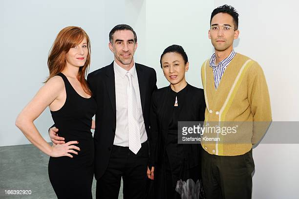 Lisa John Michael Smoler Yoko Sekine and Robert Becraft attend Takashi Murakami Private Preview And Dinner At Blum Poe on April 11 2013 in Los...