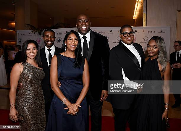 Lisa Johnson Andre Johnson Cookie Johnson honoree Earvin 'Magic' Johnson EJ Johnson and Elisa Johnson attend the 2014 Carousel of Hope Ball presented...