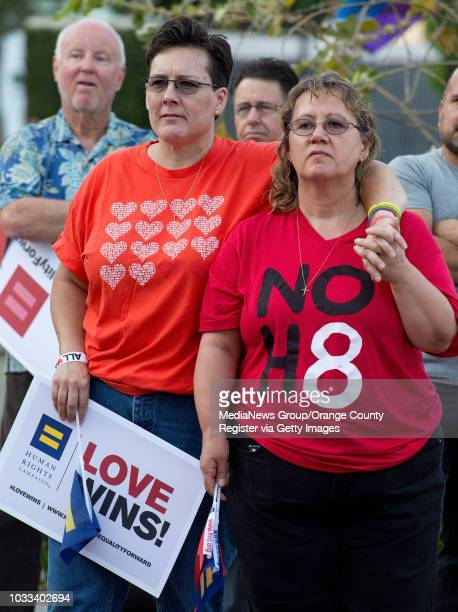 Lisa Johnson left and wife attend a rally in downtown Santa Ana to celebrate Supreme Court ruling on same sex marriage ///ADDITIONAL INFORMATION...