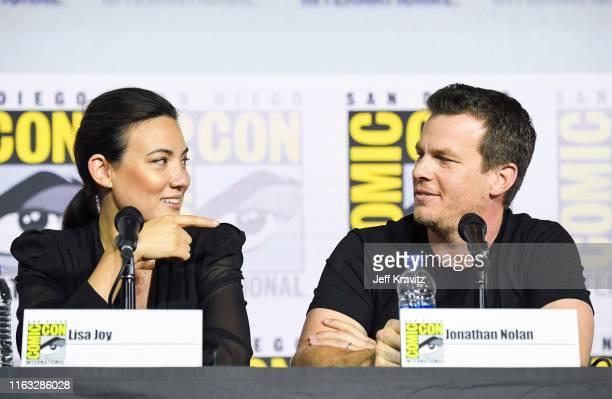 "Lisa Joy and Jonathan Nolan at ""Westworld"" Comic Con Panel 2019 on July 20 2019 in San Diego California"