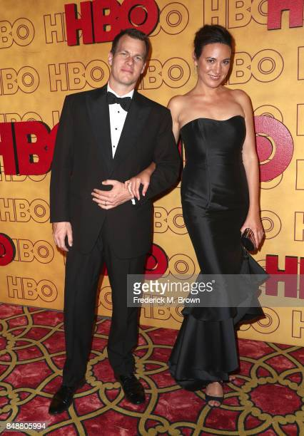 Lisa Joy and Jonathan Nolan attend HBO's Post Emmy Awards Reception at The Plaza at the Pacific Design Center on September 17 2017 in Los Angeles...
