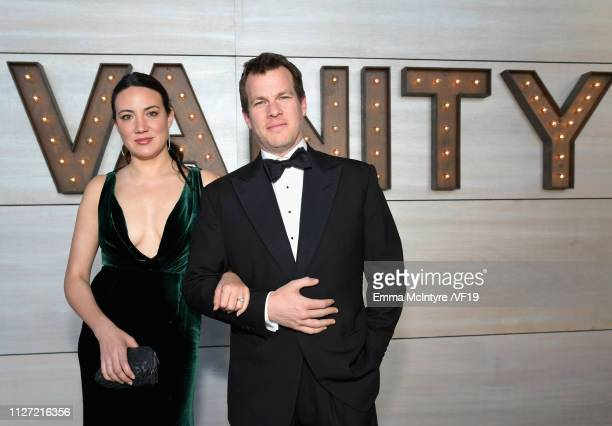 Lisa Joy and Jonathan Nolan attend the 2019 Vanity Fair Oscar Party hosted by Radhika Jones at Wallis Annenberg Center for the Performing Arts on...
