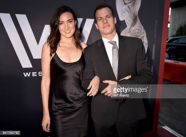 Lisa Joy and Jonathan Nolan attend the Los Angeles Season 2 premiere of the HBO Drama Series WESTWORLD at The Cinerama Dome on April 16 2018 in Los...