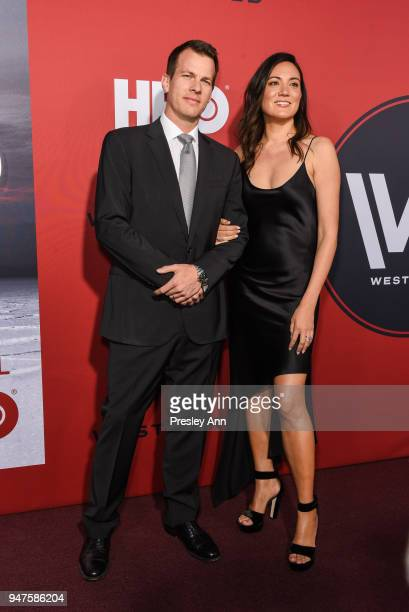 Lisa Joy and Jonathan Nolan attend Westworld Season 2 Los Angeles Premiere on April 16 2018 in Los Angeles California