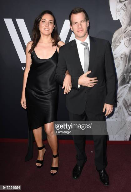 Lisa Joy and Jonathan Nolan attends the Los Angeles Season 2 premiere of the HBO Drama Series WESTWORLD at The Cinerama Dome on April 16 2018 in Los...