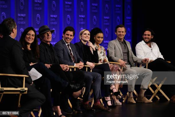 Lisa Joy Ed Harris James Marsden Evan Rachel Wood Thandie Newton Jimmi Simpson Roberto Patino attend Westworld screnning and panel at The Paley...