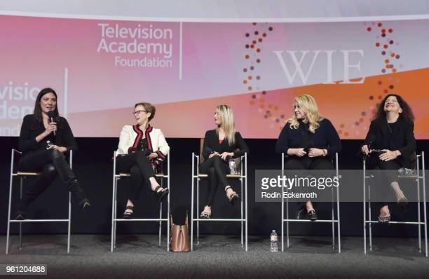 Lisa Joy Noreen Halpern Sharon Farber Heather Parry and Debra Bimbaum speak onstage at the Women in Entertainment and The Television Academy...
