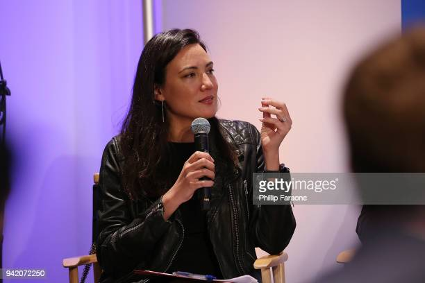 Lisa Joy speaks onstage at the Berggruen Institute Hosts Unfolding Cities at Bradbury Building on April 4 2018 in Los Angeles California