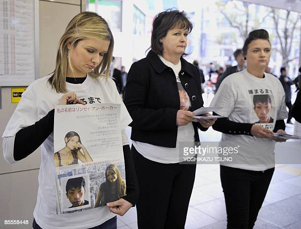 Lisa Julia and Louise Hawker family members of slain 22yearold Lindsay Ann Hawker of Britain whose body was found at an apartment on March 26 arrive...